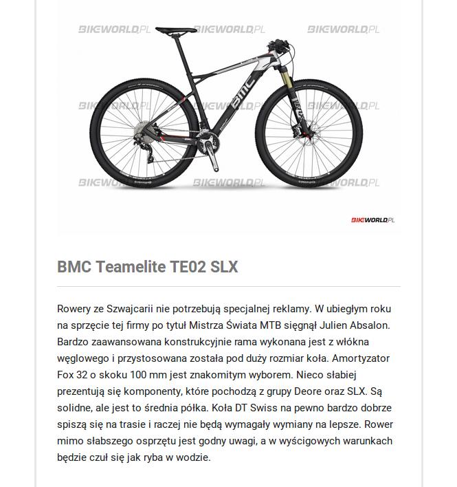 BMC teamelite TE02 SLX – rower górski stworzony do wyścigów