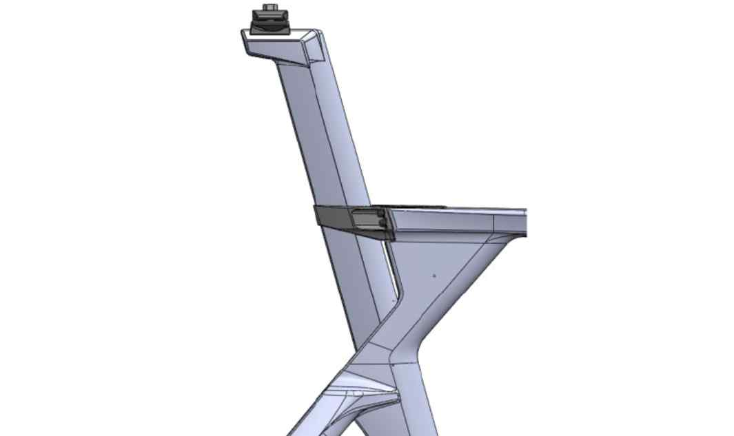 The seatpost has 2 mounting positions (patent pending), with multiple hardware mounts – totaling 124mm of possible fore-aft adjustment.