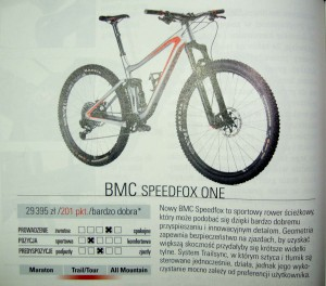 Fragment recenzji roweru BMC Speedfox 01 ONE