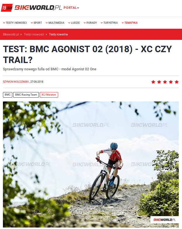 Fragment recenzji roweru BMC Agonist 02 ONE