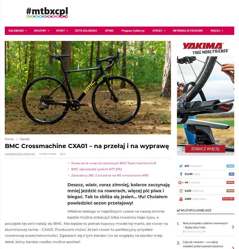 Fragment recenzji roweru BMC Crossmachine CXA01 Rival